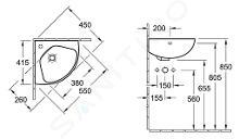 Villeroy & Boch O.novo - Compact fontein 415x415 mm, met overloop, 1 met kraangat, alpine wit 73274001