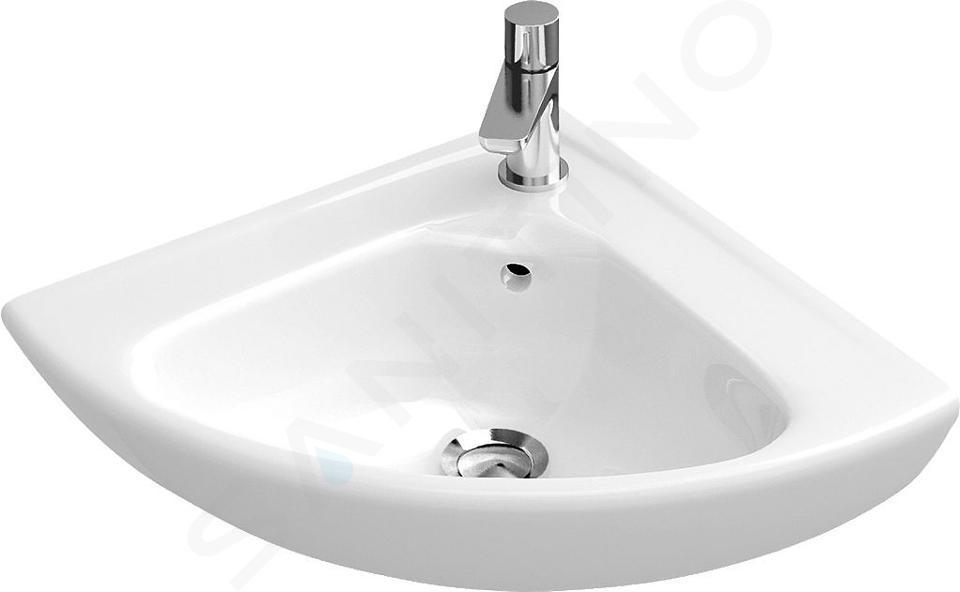 Villeroy & Boch O.novo - Compact fontein 415x415 mm, met overloop, 1 met kraangat, CeramicPlus, alpine wit 732740R1