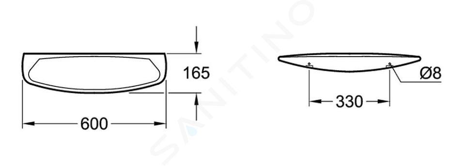 Villeroy & Boch O.novo - Planchet, 600x165 mm, alpine wit 78186001