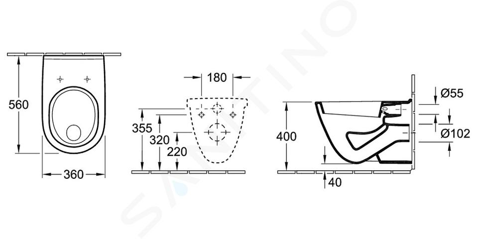 Villeroy & Boch O.novo - Hangend toilet, vlakspoel, Ceramicplus, wit 566210R1