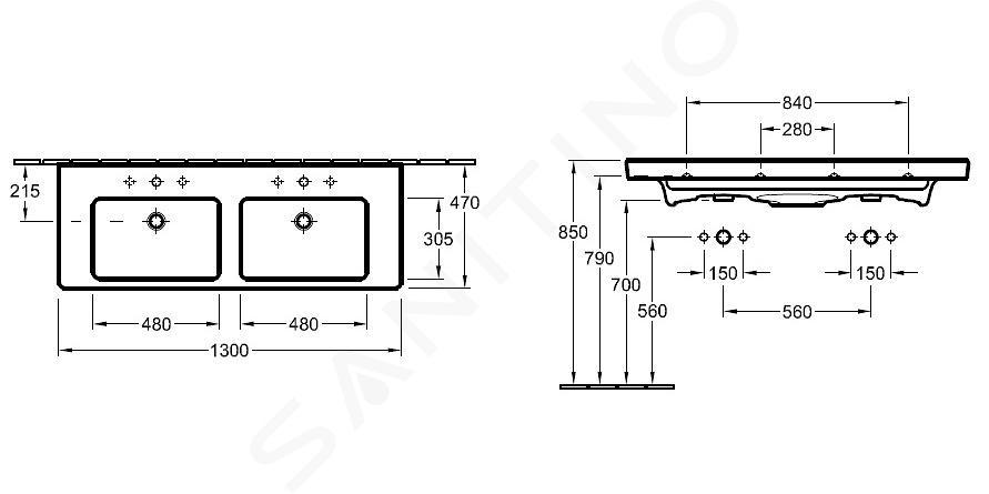 Villeroy & Boch Subway 2.0 - Dubbele meubelwastafel 1300 x 470 mm, met overloop en kraangaten, wit 7175D001