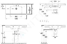 Villeroy & Boch Subway 2.0 - Meubelwastafel1000x470 mm, zonder overloop, met kraangaten, Ceramicplus, wit 7175A1R1