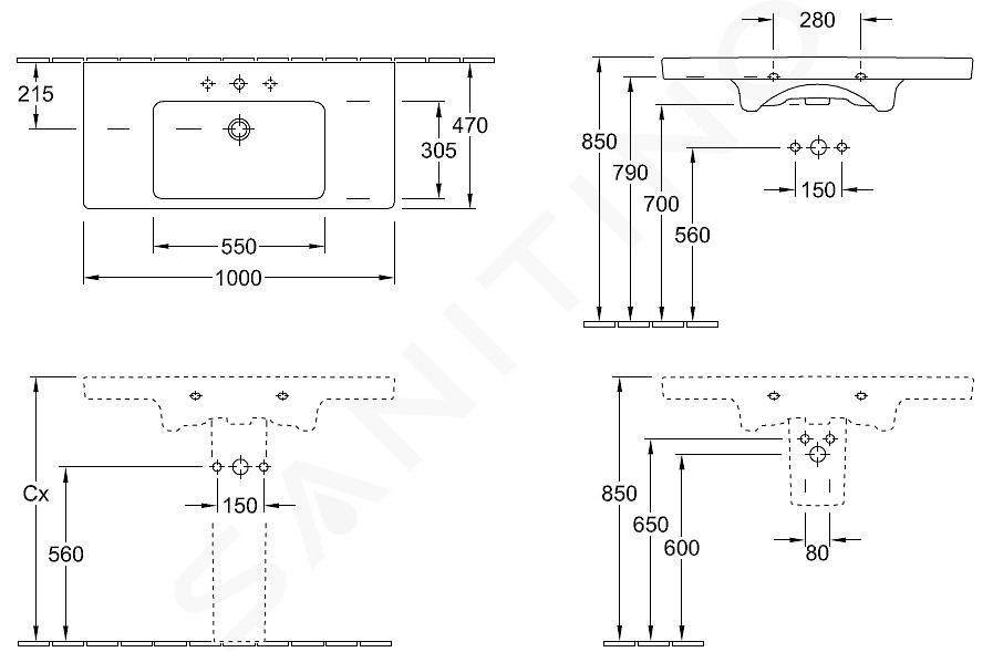 Villeroy & Boch Subway 2.0 - Meubelwastafel1000x470 mm, zonder overloop, met kraangaten, Ceramicplus, pergamon 7175A1R3