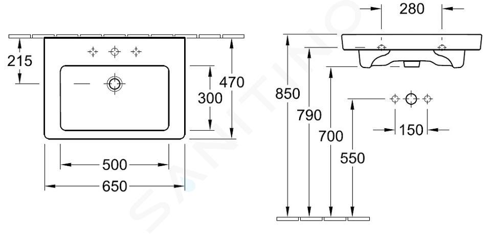 Villeroy & Boch Subway 2.0 - Wastafel met overloop, 650x470 mm, met Ceramicplus, alpine wit 7113FAR1