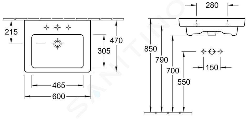 Villeroy & Boch Subway 2.0 - Wastafel zonder overloop, 600x470 mm, met Ceramicplus, Star White 7113F1R2