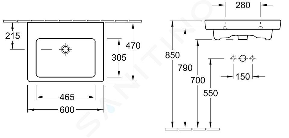 Villeroy & Boch Subway 2.0 - Wastafel met overloop, 600x470 mm, met Ceramicplus, alpine wit 7113F2R1
