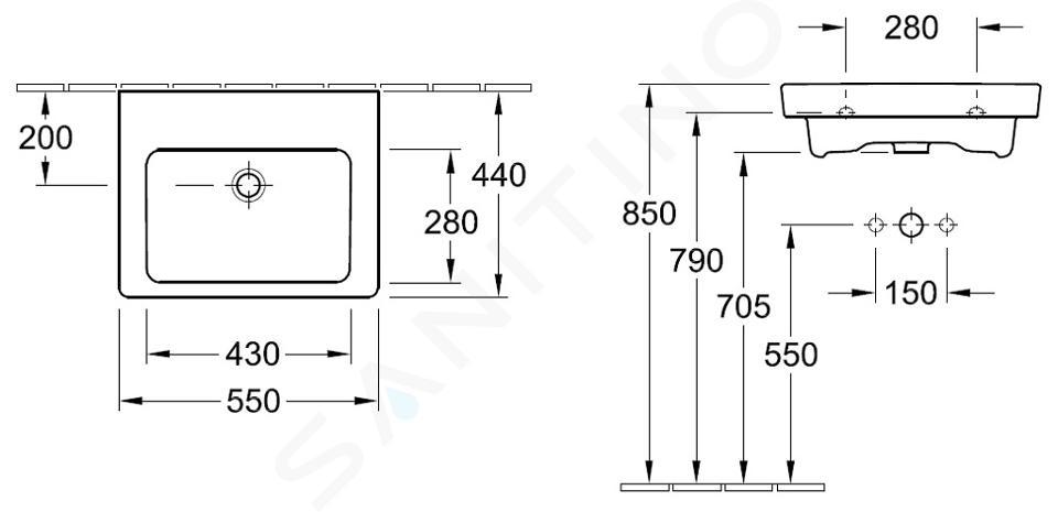 Villeroy & Boch Subway 2.0 - Wastafel met overloop, 550x440 mm, met Ceramicplus, Star White 7113F7R2