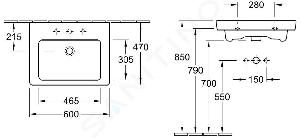 Villeroy & Boch Subway 2.0 - Wastafel met overloop, 600x470 mm, alpine wit 71136G01