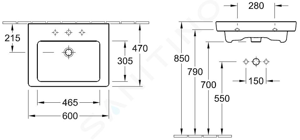 Villeroy & Boch Subway 2.0 - Wastafel zonder overloop, 600x470 mm, met Ceramicplus, alpine wit 71136HR1