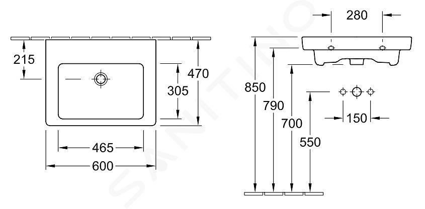 Villeroy & Boch Subway 2.0 - Wastafel met overloop, 600x470 mm, alpine wit 71136J01