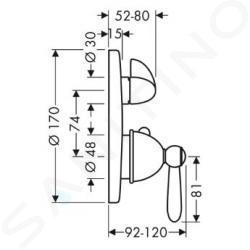 Axor Carlton - Termostatická batéria pod omietku s uzatváracím ventilom, chróm 17700000