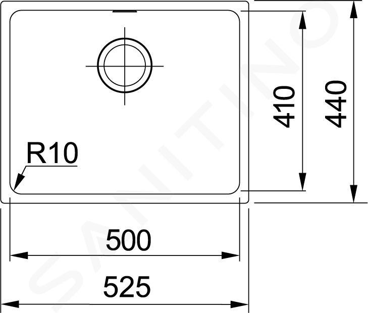 Franke Sirius - Évier en tectonite SID 110-50, 525x440 mm, noir 125.0363.789