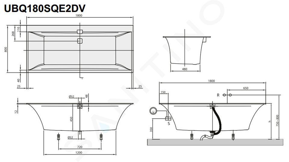 Villeroy & Boch Squaro Edge 12 - Baignoire 1800x800x450 mm, Quaryl, blanc UBQ180SQE2DV-01