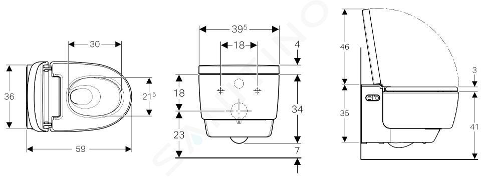 Geberit AquaClean - Elektronický bidet Mera Comfort závěsný, SoftClosing, lesklý chrom 146.212.21.1