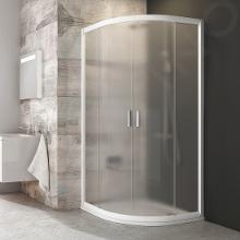 Ravak Blix - Štvrťkruhový sprchovací kút posuvný štvordielny BLCP4, 875mm – 895 mmx875mm – 895 mm – farba biela, sklo grape 3B270100ZG