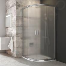 Ravak Blix - Čtvrtkruhový sprchový kout čtyřdílný BLCP4-90, 880-900 mm, lesklý hliník/sklo Grape 3B270C00ZG