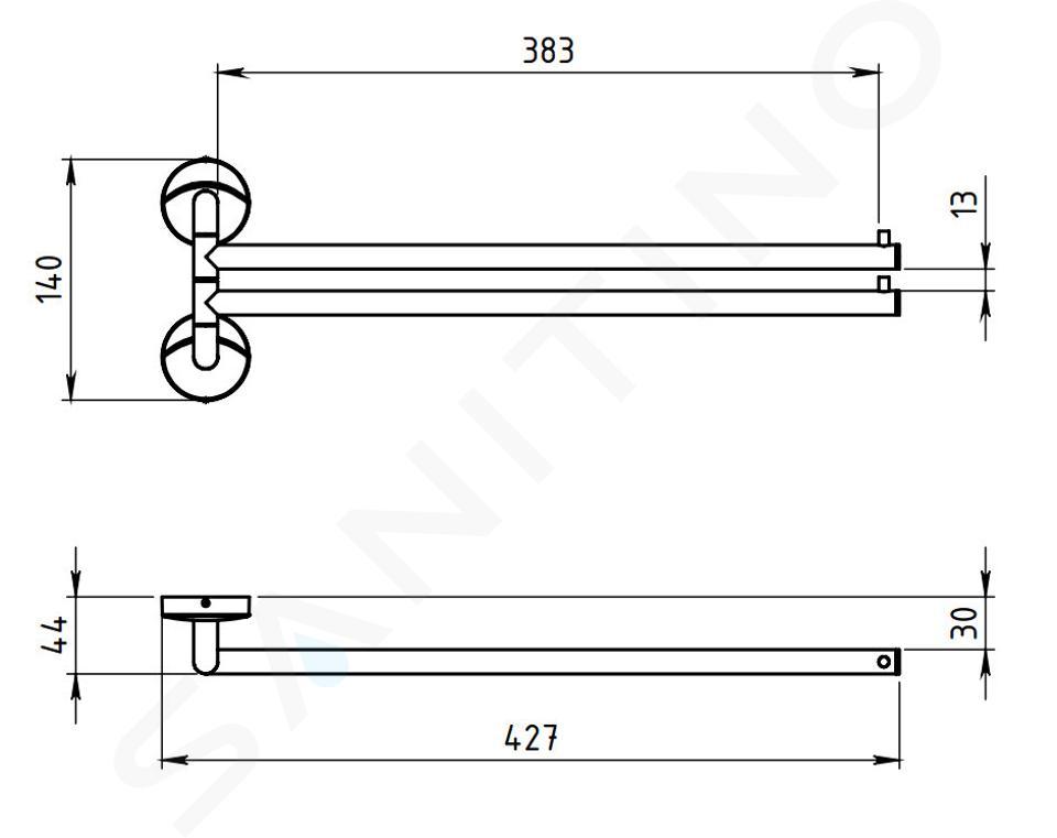 Novaservis Metalia 11 - Dvouramenný držák ručníků, chrom 0129,0