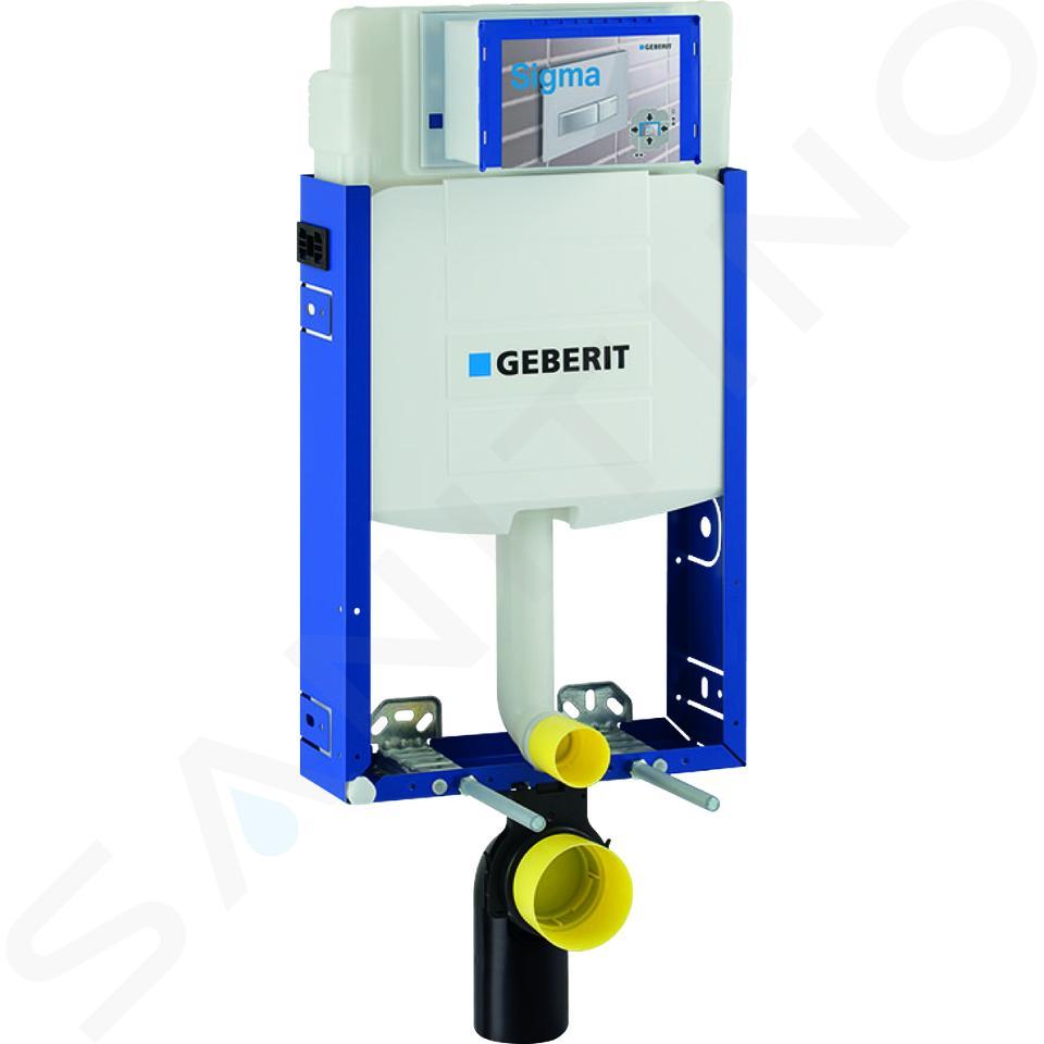 Geberit Kombifix - Inbouwreservoir voor hangend toilet met SIGMA01 bedieningsknop, glanzend chroom + Ideal Standard Quarzo - hangend toilet en wc-bril 110.302.00.5 ND2