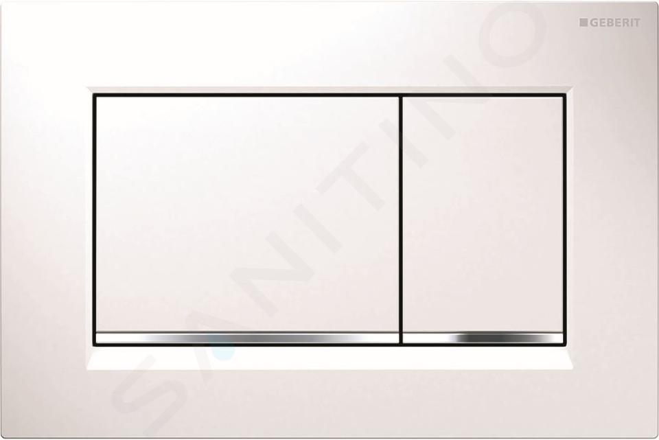 Geberit Kombifix - Inbouwreservoir voor hangend toilet met SIGMA30 bedieningsknop, wit/glanzend chroom + Ideal Standard Quarzo - hangend toilet en wc-bril 110.302.00.5 ND5