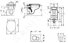 Geberit Combifix - Modulo di installazione per WC sospesi con placca di comando Sigma30, cromo opaco/cromo +WC e copriwater Ideal Standard Quarzo 110.302.00.5 ND7