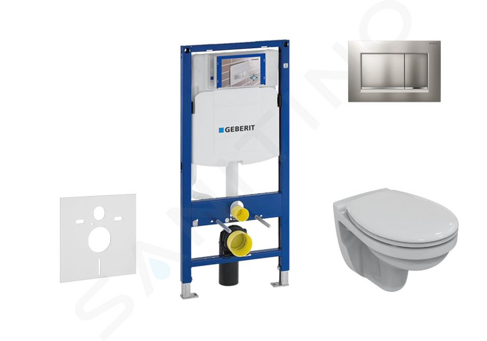 Geberit Duofix - Bâti-support pour WC suspendu avec plaque de déclenchement Sigma30, chrome mat/chrome + Ideal Standard Quarzo – cuvette et abattant 111.300.00.5 ND7