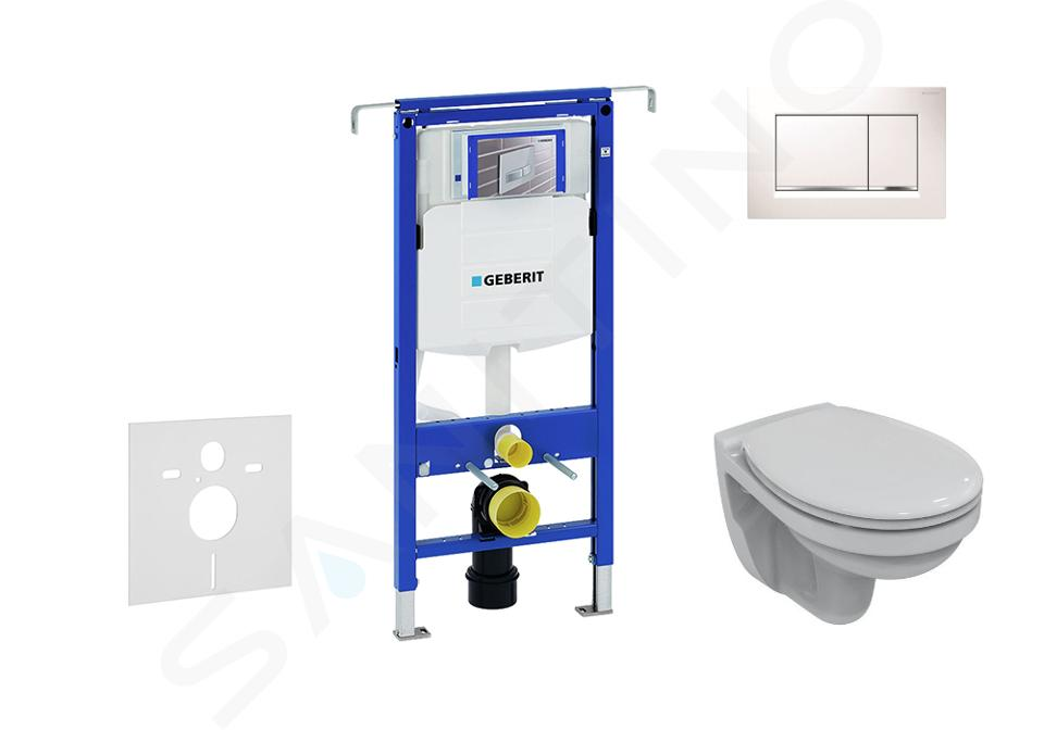 Geberit Duofix - Bâti-support pour WC suspendu avec plaque de déclenchement Sigma 30, blanc/chrome brillant + Ideal Standard Quarzo – cuvette et abattant 111.355.00.5 ND5