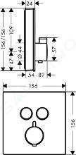 Hansgrohe Shower Select Glass - Afbouwdeel voor inbouw thermostaat met 2 stopkranen voor 2 douchefuncties, zwart/chroom 15738600