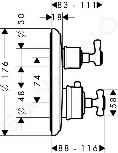 Axor Montreux - Termostatická baterie pod omítku s uzavíracím ventilem, chrom 16800000