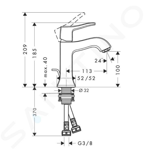Hansgrohe Metris Classic - Miscelatore monocomando per lavabo, sistema di scarico a tirante, cromato 31075000