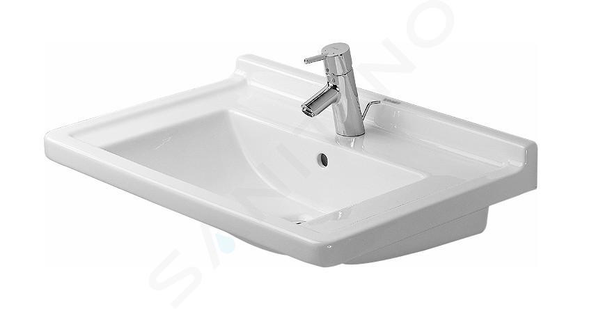 Duravit Starck 3 - Lavabo 700x490 mm, avec un trou pour robinet, blanc 0304700000