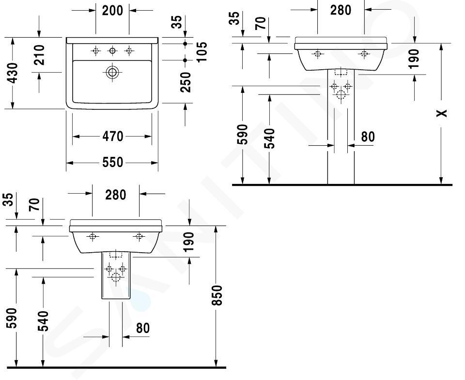 Duravit Starck 3 - Lavabo 550x430 mm, con 1 foro per miscelatore, bianco 0300550000