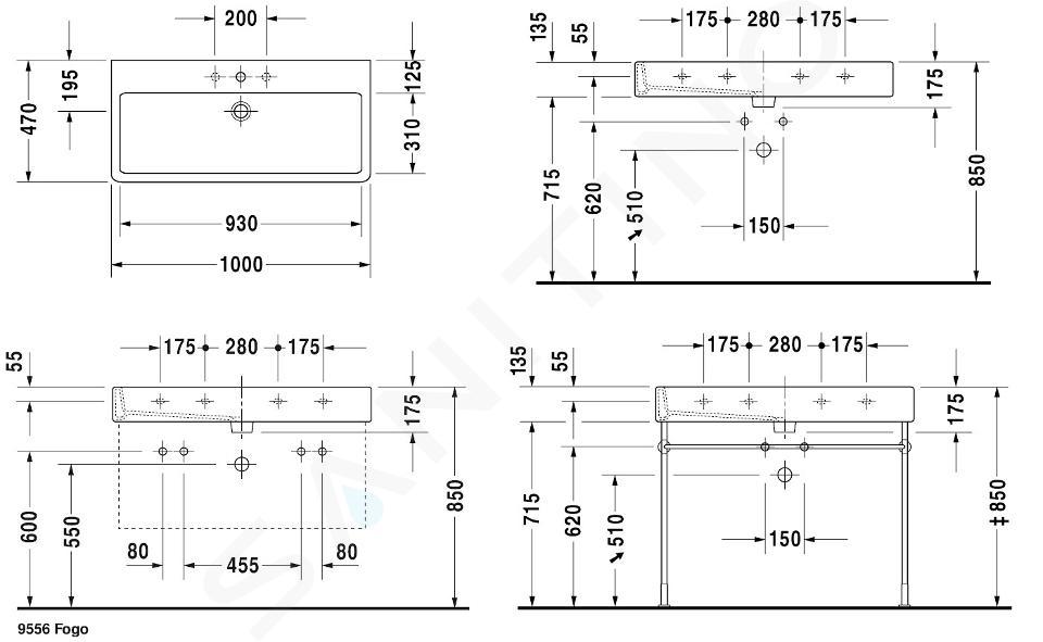 Duravit Vero - Wastafel 1000x470 mm, 1 kraangat, alpine wit 0454100000