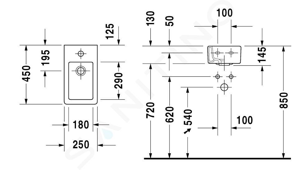 Duravit Vero - Lavamani 450x250 mm, con 1 foro per miscelatore, bianco alpino 0702250000