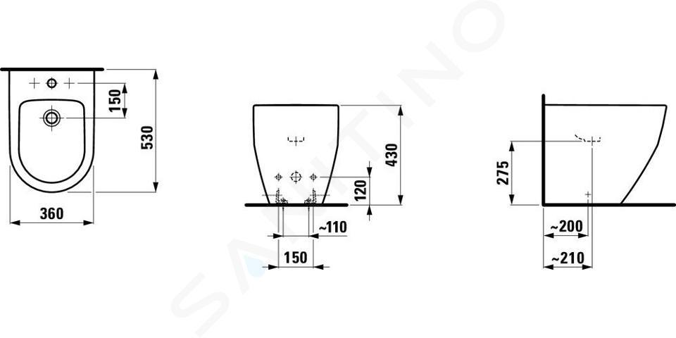 Laufen Pro - Staand bidet, 530x360 mm, watertoevoer achter, met kraangat, wit H8329520003021