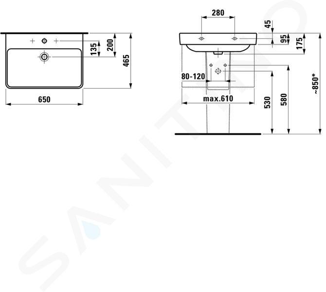 Laufen Pro S - Umyvadlo, 650x465 mm, 1 otvor pro baterii, bílá H8109640001041