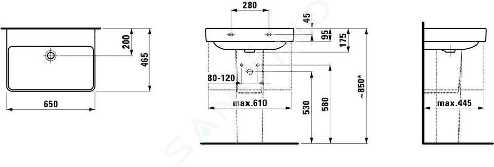 Laufen Pro S - Umyvadlo, 650x465 mm, bez otvoru pro baterii, bílá H8109640001091