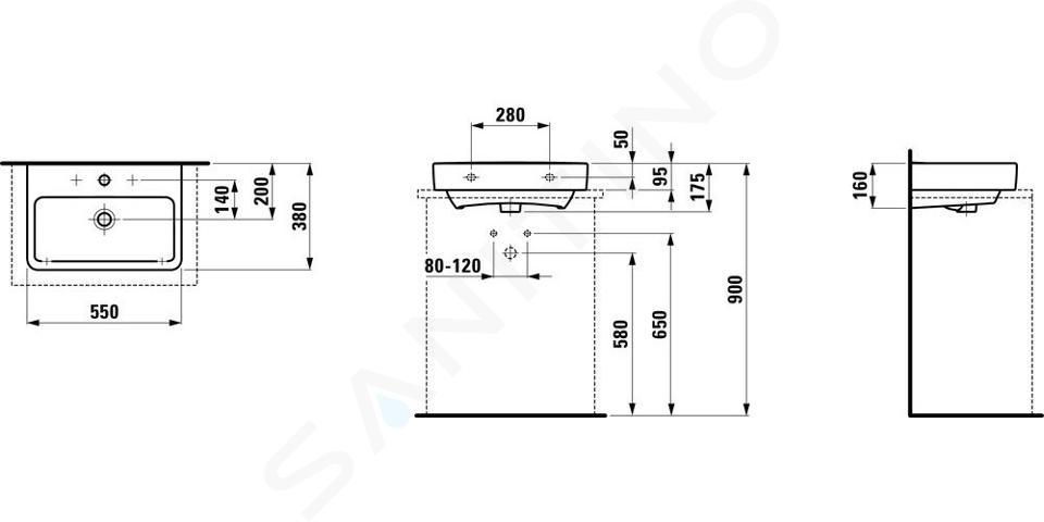 Laufen Pro S - Umyvadlo Compact, 550x380 mm, 3 otvory pro baterii, bílá H8179580001081