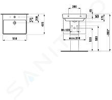 Laufen Pro S - Lavabo, 550x465 mm, 1 foro per miscelatore, bianco H8109620001041