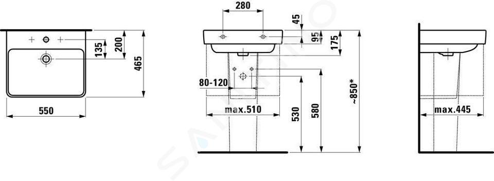 Laufen Pro S - Umyvadlo, 550x465 mm, 3 otvory pro baterii, bílá H8109620001081
