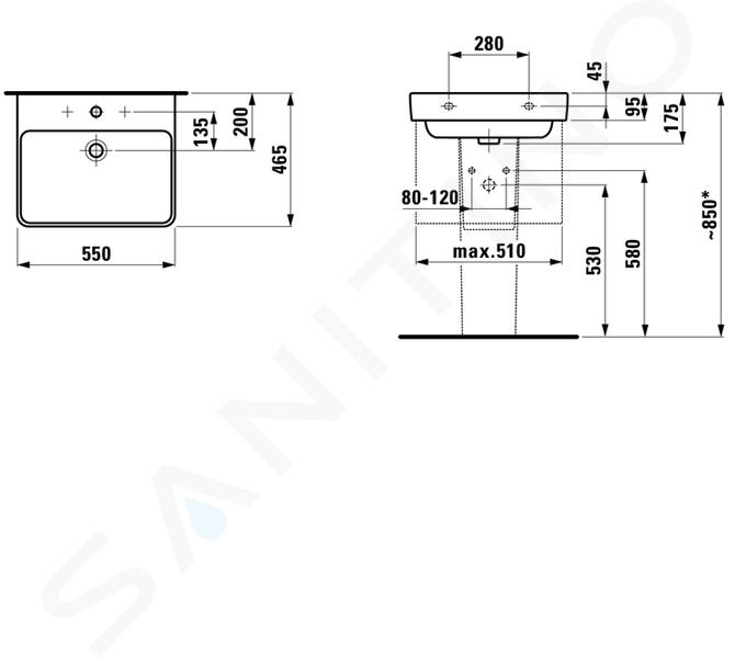 Laufen Pro S - Umyvadlo, 550x465 mm, 1 otvor pro baterii, s LCC, bílá H8109624001041