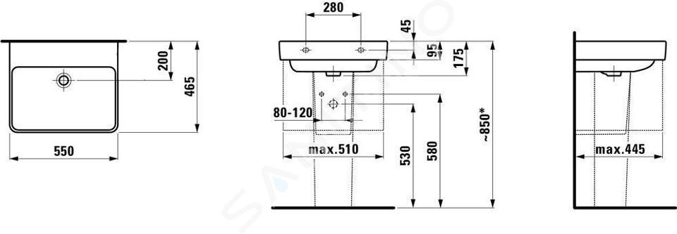 Laufen Pro S - Umyvadlo, 550x465 mm, bez otvoru pro baterii, s LCC, bílá H8109624001091
