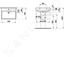 Laufen Pro S - Waschbecken 600x465 mm, 1 Hahnloch, weiß H8109630001041
