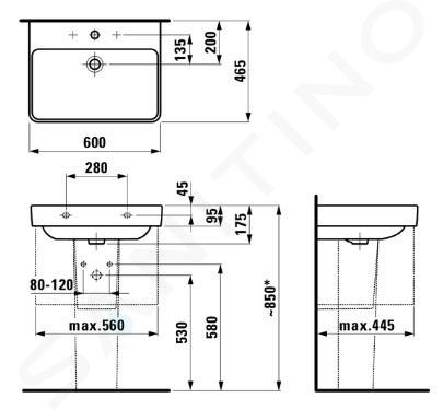 Laufen Pro S - Umyvadlo, 600x465 mm, 3 otvory pro baterii, bílá H8109630001081