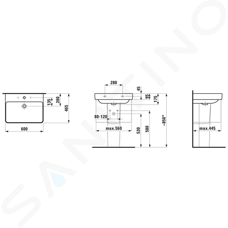 Laufen Pro S - Umyvadlo, 600x465 mm, 1 otvor pro baterii, bez přepadu, bílá H8109630001561
