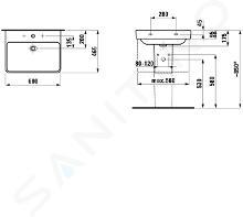 Laufen Pro S - Umyvadlo, 600x465 mm, 1 otvor pro baterii, s LCC, bílá H8109634001041