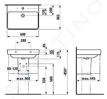 Laufen Pro S - Umyvadlo, 600x465 mm, 3 otvory pro baterii, s LCC, bílá H8109634001081