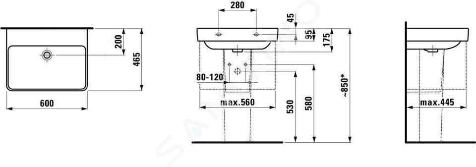 Laufen Pro S - Umyvadlo, 600x465 mm, bez otvoru pro baterii, s LCC, bílá H8109634001091