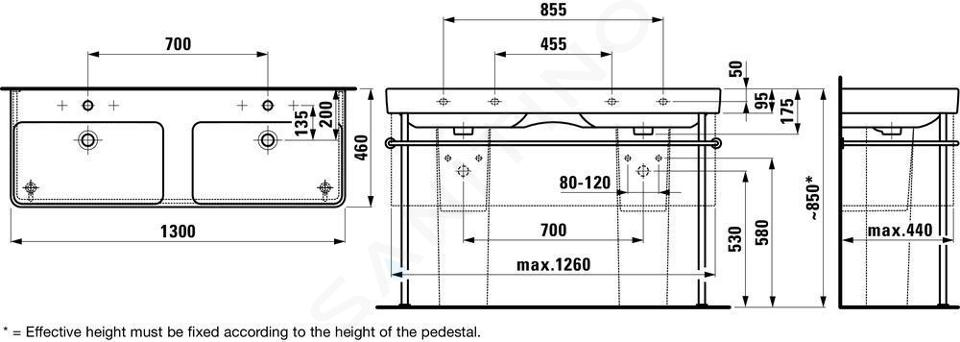 Laufen Pro S - Dvojumyvadlo, 1300x460 mm, se 6 otvory pro baterie, bílá H8149680001081