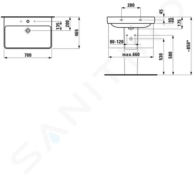 Laufen Pro S - Umyvadlo, 700x465 mm, 1 otvor pro baterii, bílá H8109670001041