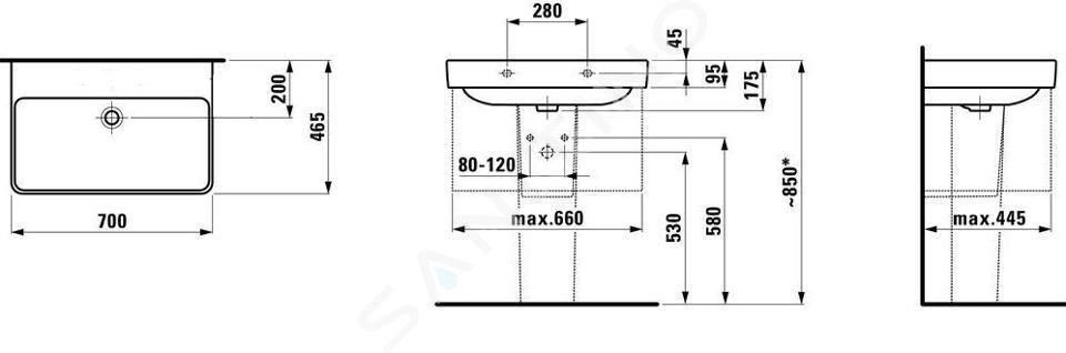 Laufen Pro S - Umyvadlo, 700x465 mm, bez otvoru pro baterii, bez přepadu, bílá H8109670001421